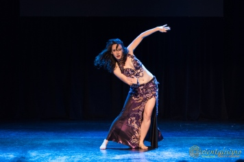 Siobhan of Greenstone Belly Dance on stage in Barcelona as part of Orientalisimo Weekend 2018.