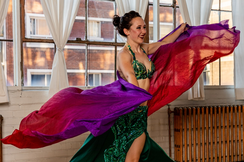 Siobhan performing a veil entrance piece at the Greenstone Belly Dance end of term show.